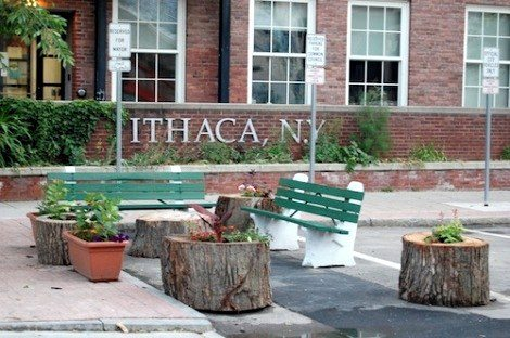 The Ithaca Mayor turned his parking space into 'park space,' complete with a bench.