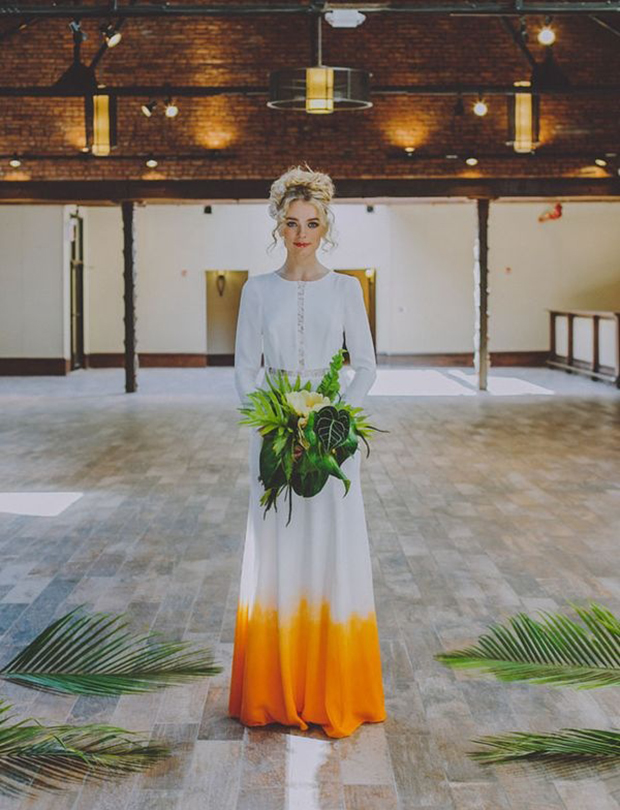 Dip dyed wedding dresses are a growing trend simplemost tropical orange dip dye wedding dress junglespirit Images