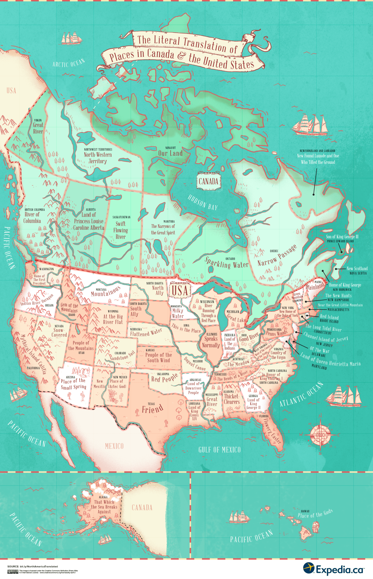 Map Shows The Literal Meaning Of Every State Name Simplemost - World map with state names