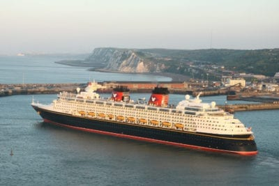 'Disney Magic' Cruise Ship Passes The White Cliffs Of Dover England